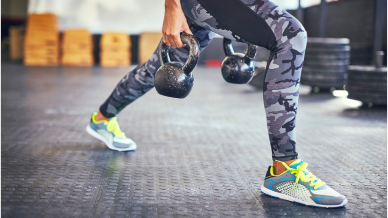 double kettlebell suitcase lunge -compound smart exercise